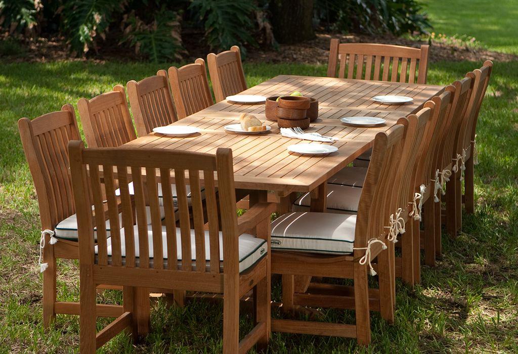 11 Pc Vogue Dining Set Westminster Teak Teak Outdoor Furniture Teak Furniture Set Teak Patio Furniture