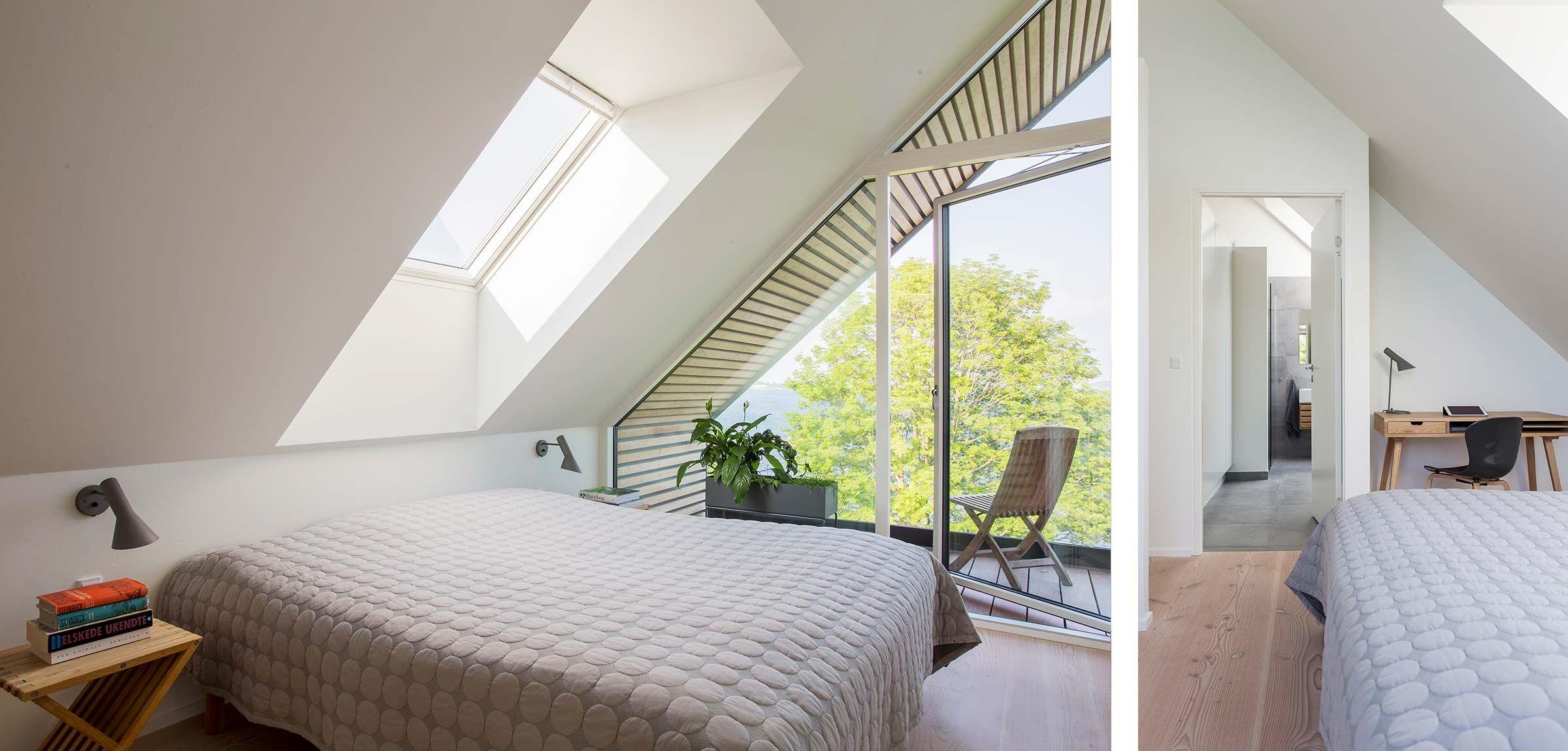Soveværelse - Tagvinduer, velux, altan, afhøvlede gulve og olierede ...