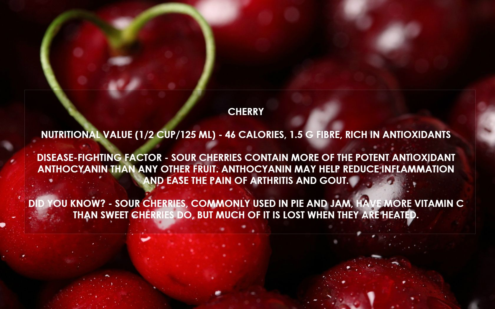 We All Love Sweet Sweet Cherries But Did You Know That Sour Cherries Contain More Of The Potent Antioxidant Anthocyanin Than Superfruit Fruit Sweet Cherries