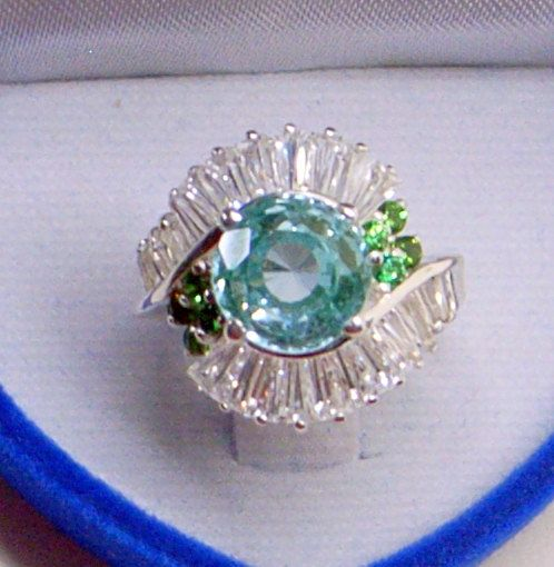 Taille de bague - saphirs blanc - vert grenat - en argent Sterling - Tourmaline Paraiba vert Vintage 6.5-7 - superbe RARE