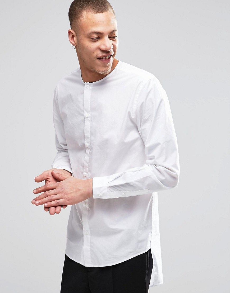 Image 1 Of Weekday Grimm Collarless Shirt Long Tail In White Shirt