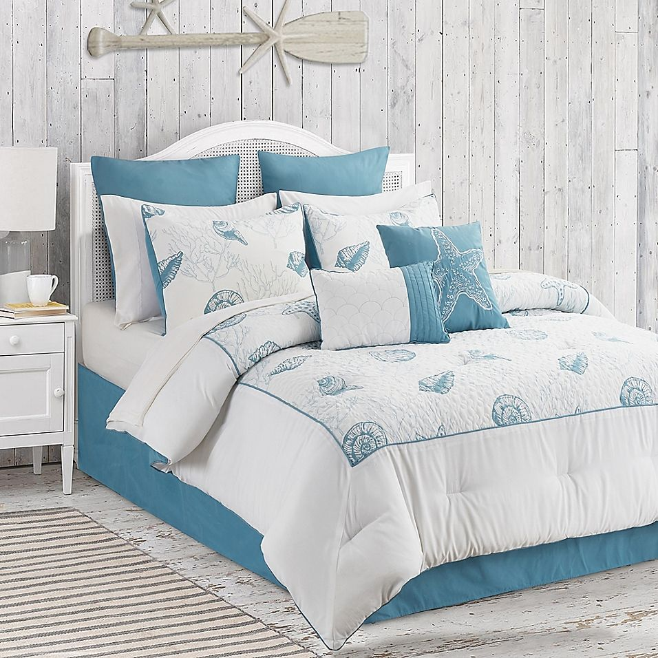 Anthia 12 Piece Queen Comforter Set In Blue White Comforter Sets