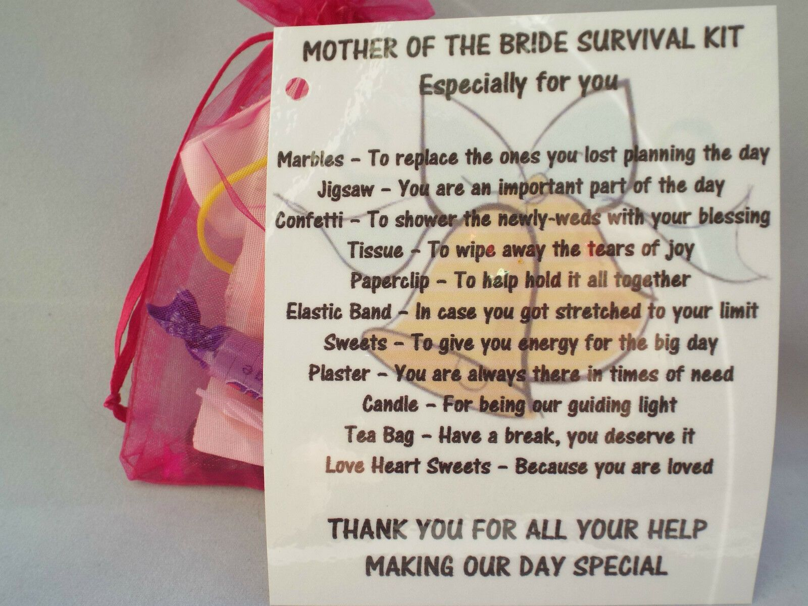 Mother Of The Groom Survival KitWedding thank you gift mother of the groom
