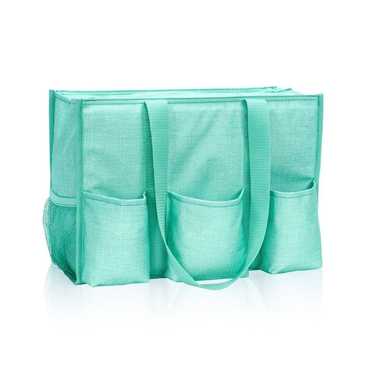 Zip Top Organizing Utility Tote Turquoise Crosshatch Christys