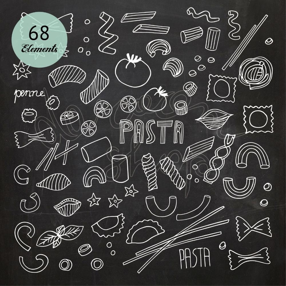 Chalkboard Pasta Clipartitalian Kitchenspaghetti Etsy In 2021 Clip Art Chalkboard Fonts Quotes