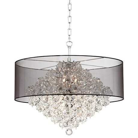 Clear crystals drop delicately below the sheer black drum of this shaded pendant light.  sc 1 st  Pinterest & Clear crystals drop delicately below the sheer black drum of this ...