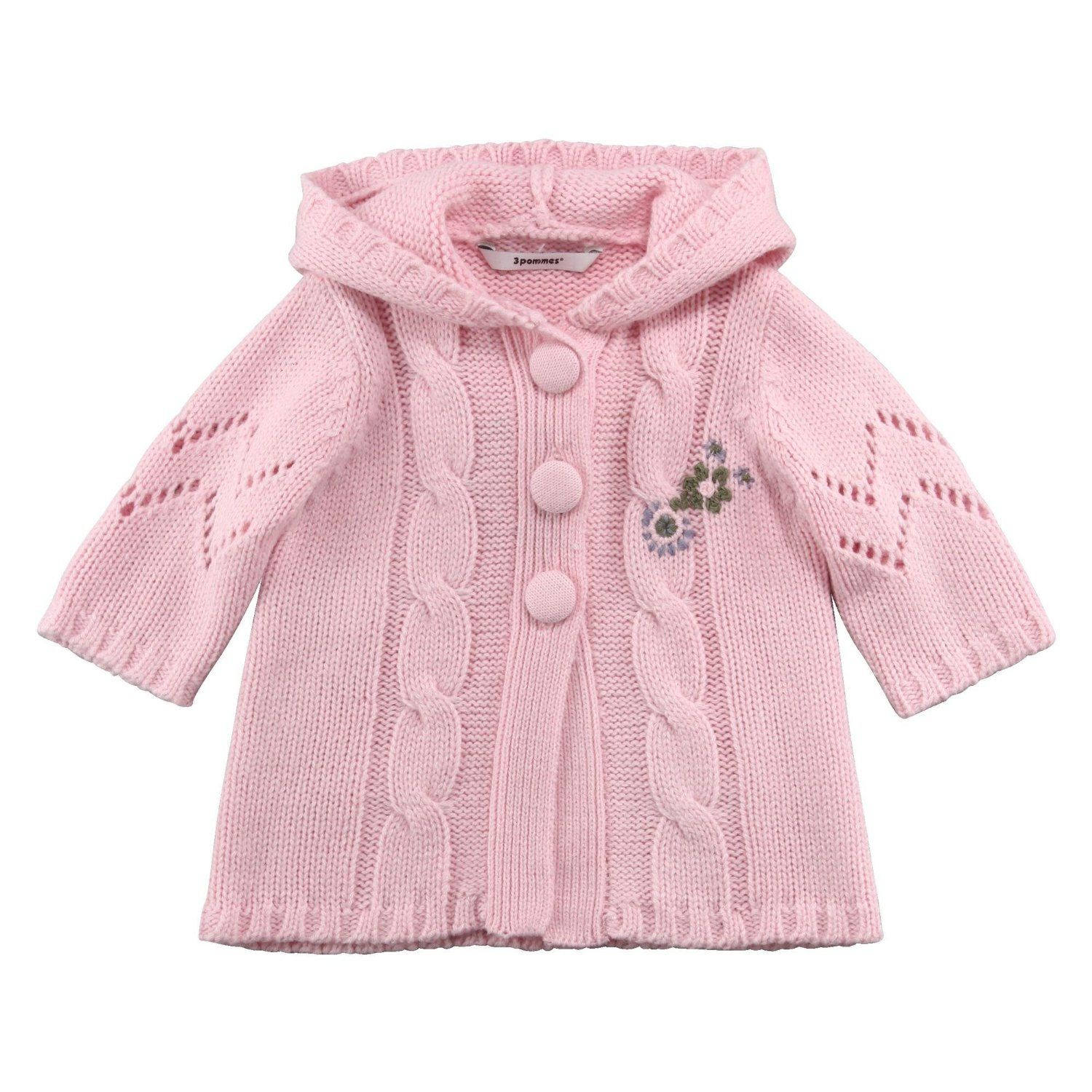 3Pommes 3418082 Baby Girl's Knitted Hooded Cardigan Baby Pink 6 ...