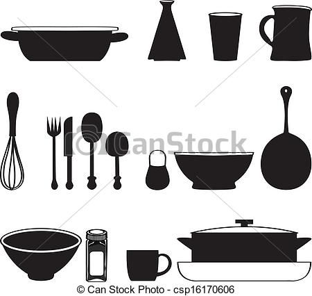 Kitchen Tools Drawings seamless pattern with kitchen utensils pot, cup, pan, set, dish