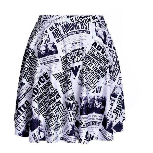 Harry Potter Newspaper SKATER SKIRT ❤ liked on Polyvore featuring skirts, skater skirt, circle skirt and flared skirt