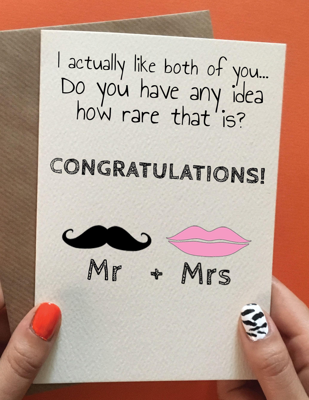 Funny wedding congratulations card for friend. Mr & Mrs