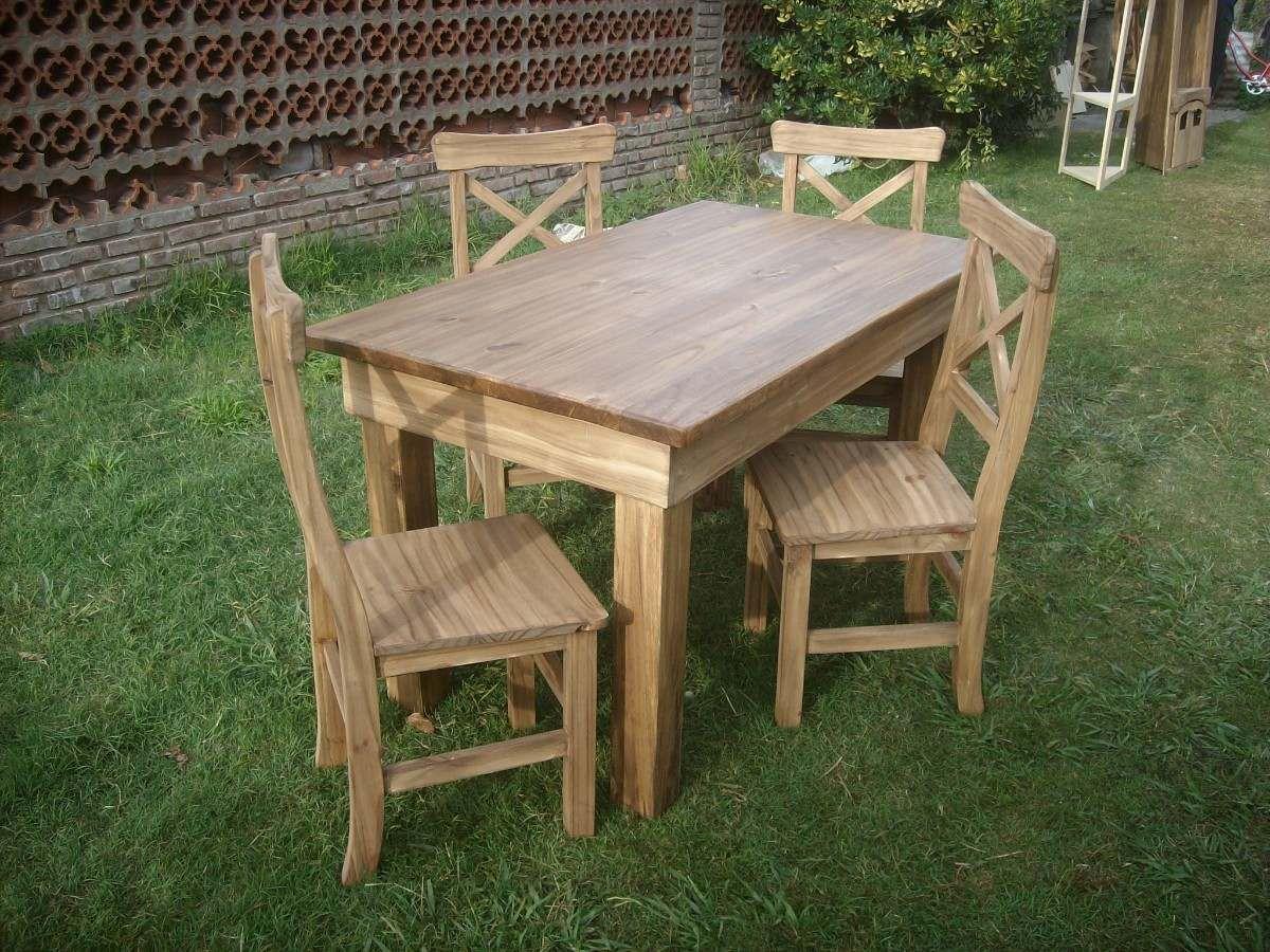 Sillas para mesa r sticas estilo campo madera maciza for Mesas y sillas rusticas