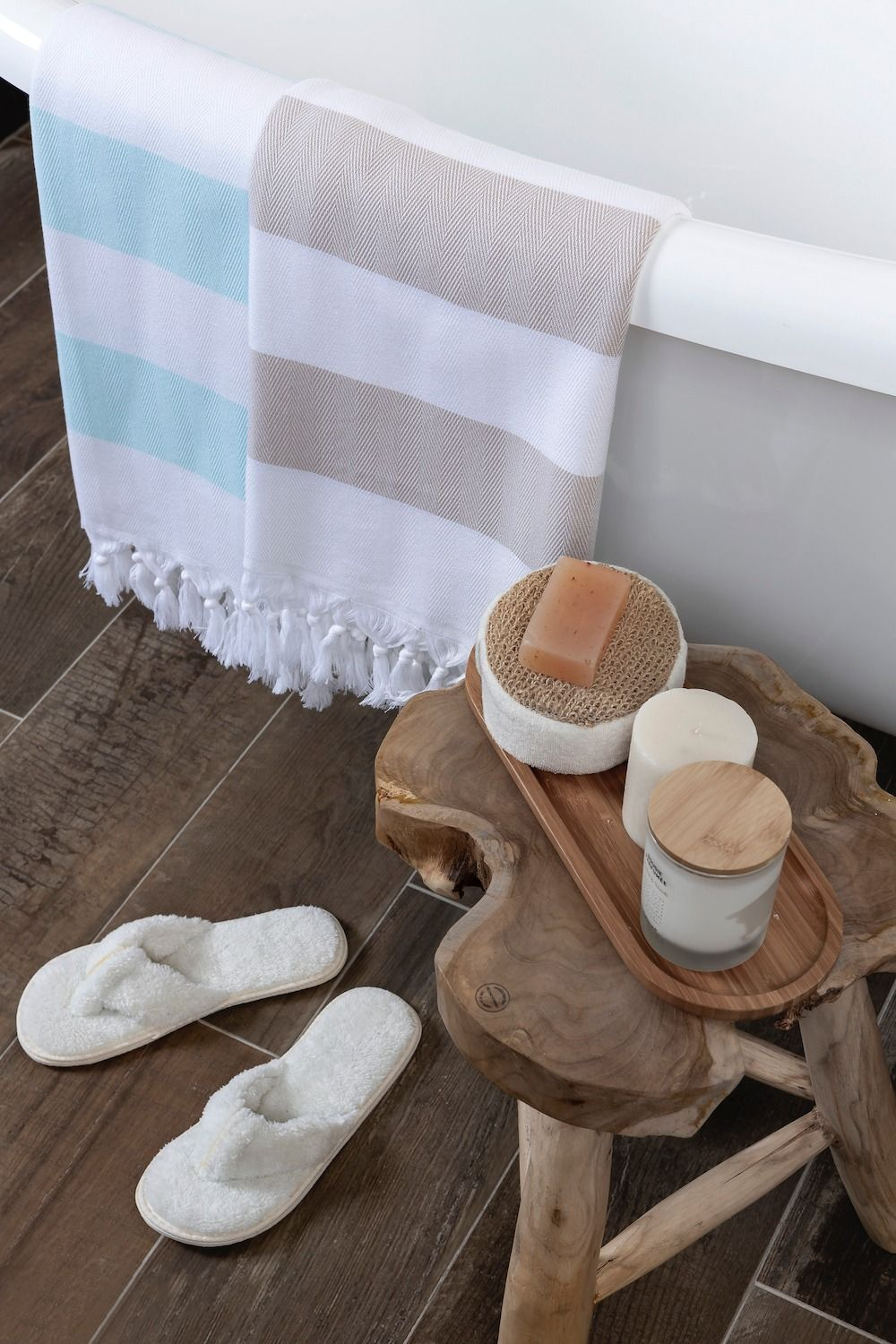 Mediterranean Cotton Turkish Bath Towel With Fringes Peshtemal
