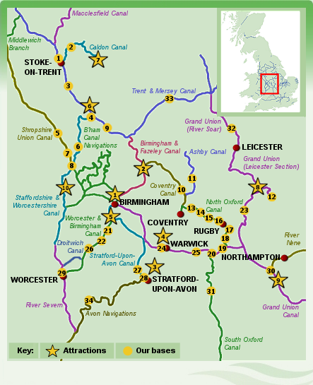 Map Of Uk Rivers And Canals.Map Of Central England Boat Holidays On The Central Uk Canals