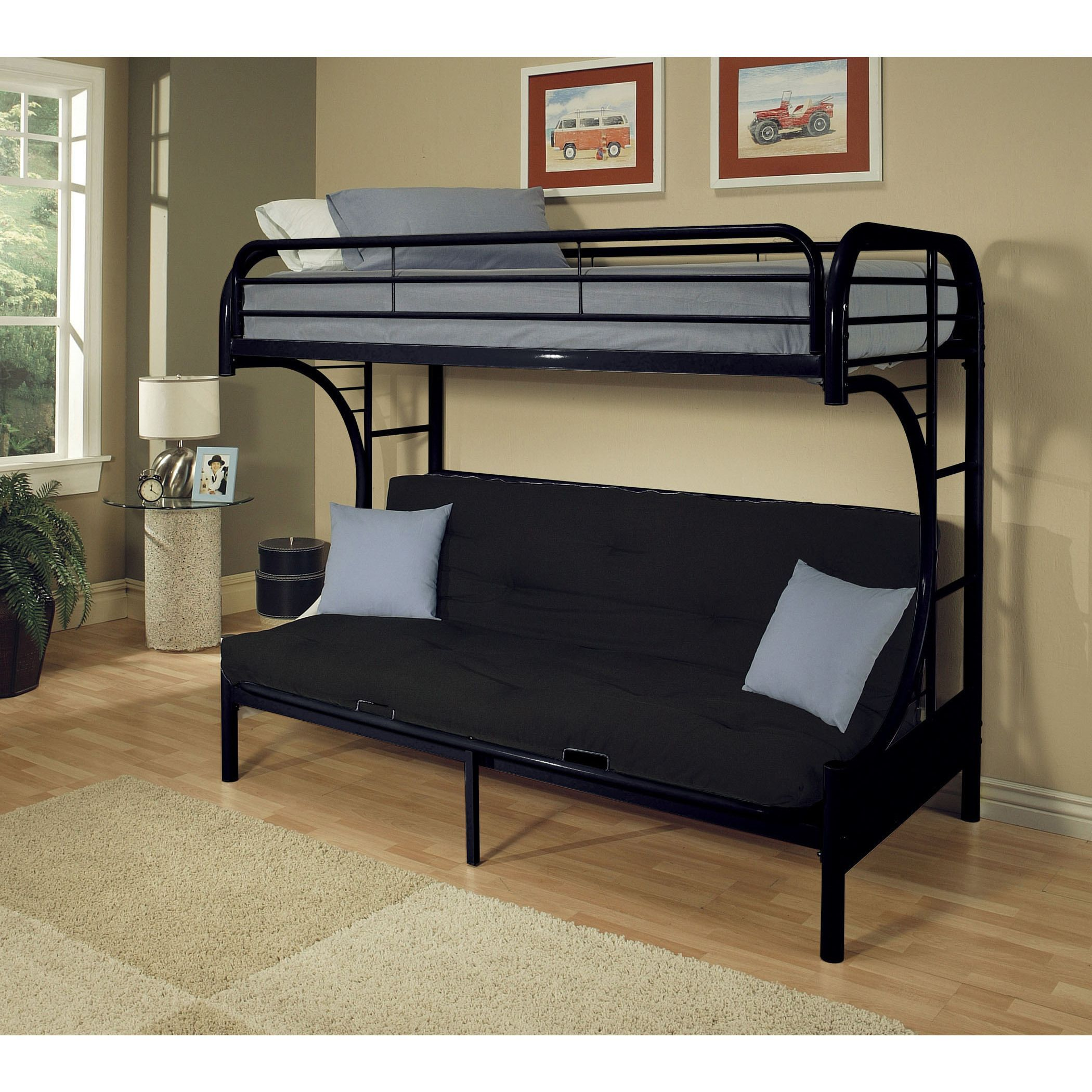 bed full futon steel pin metal modern walker with size twin bunk edison mattress black included
