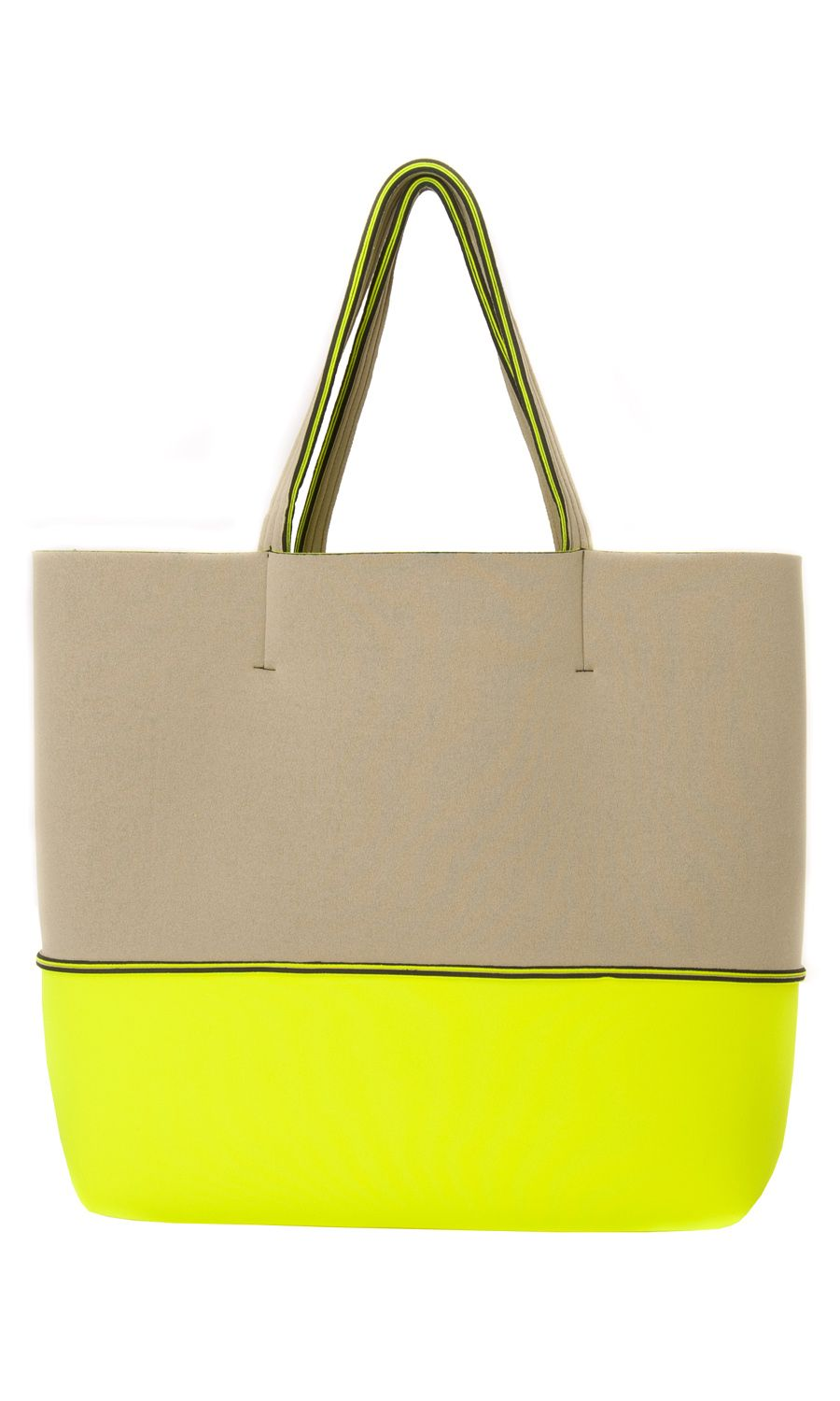 Leghilà Bi-color neoprene Beach Bag - Yellow & Beige #bag ...