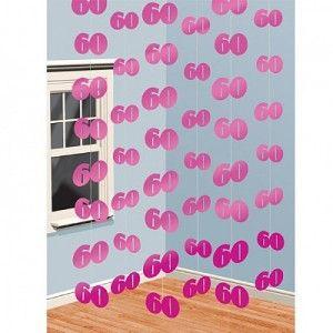 60th Birthday Pink String Decoration
