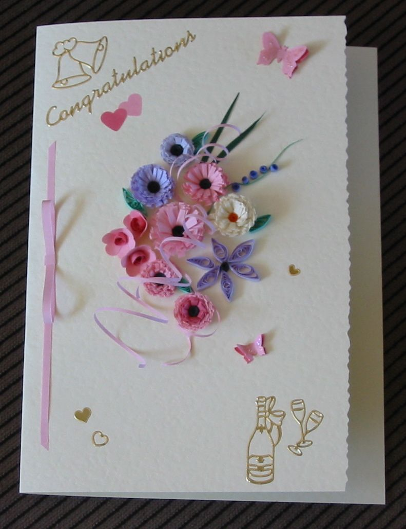 Quilled congratulation card