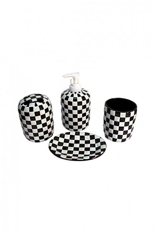 Badezimmer Set Karo Ska Bathroom set 4 pieces black white squares ...