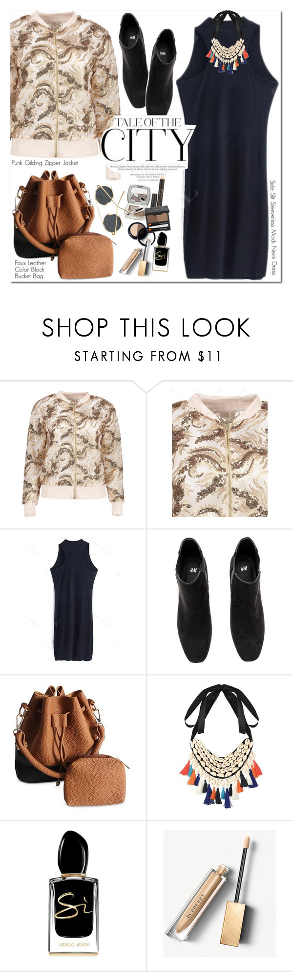 """Punk Gilding Zipper Jacket"" by oshint ❤ liked on Polyvore featuring Giorgio Armani, Burberry, awesome, amazing, fabulous, wonderful and zaful"