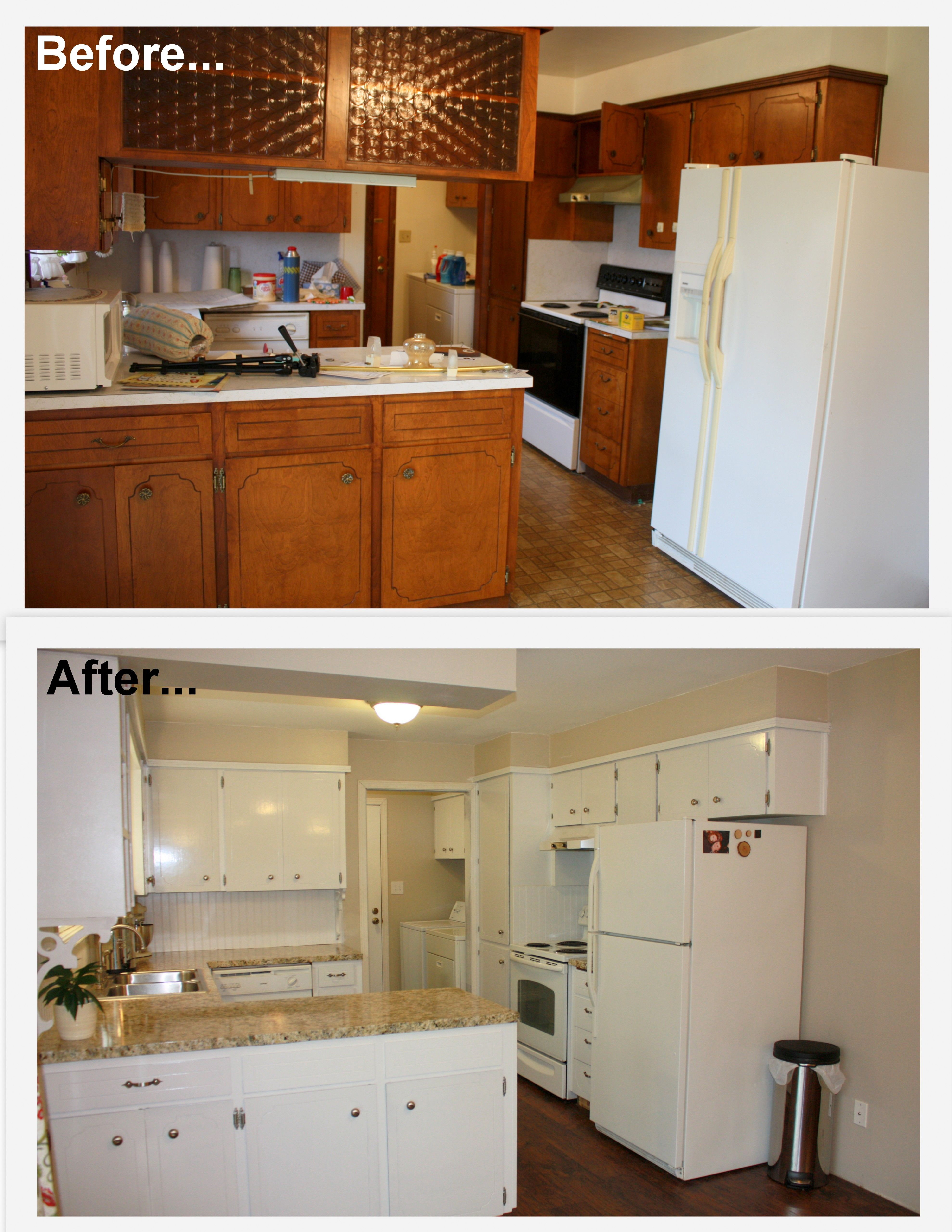 1960 s kitchen makeover remodel before and after hardwood flooring painted white cabi diy on kitchen cabinets painted before and after id=90700