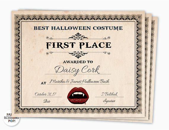 Halloween Award Halloween Costume Certificate 1st Place Costume