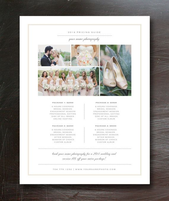 Photography Price List Template Wedding Photographer Pricing Guide By Designbybittersweet