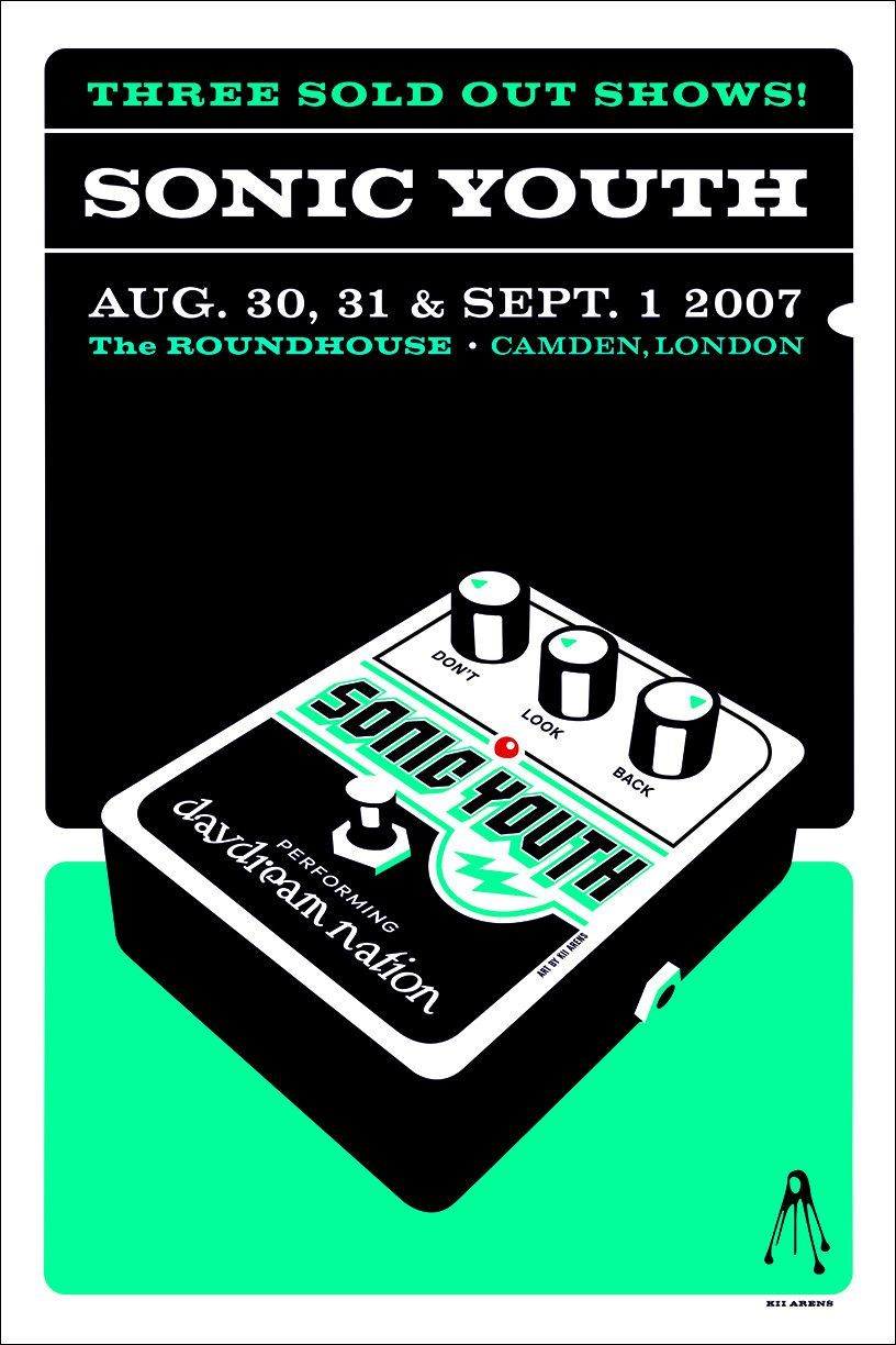 SONIC YOUTH The Roundhouse • Sept. 1st, 2007 Presented by All Tomorrow's Parties • Artwork by Kii Arens 24″ x 17″ Silk Screened Serigraph We've partnered with our friends at Simply Framed to offer hig