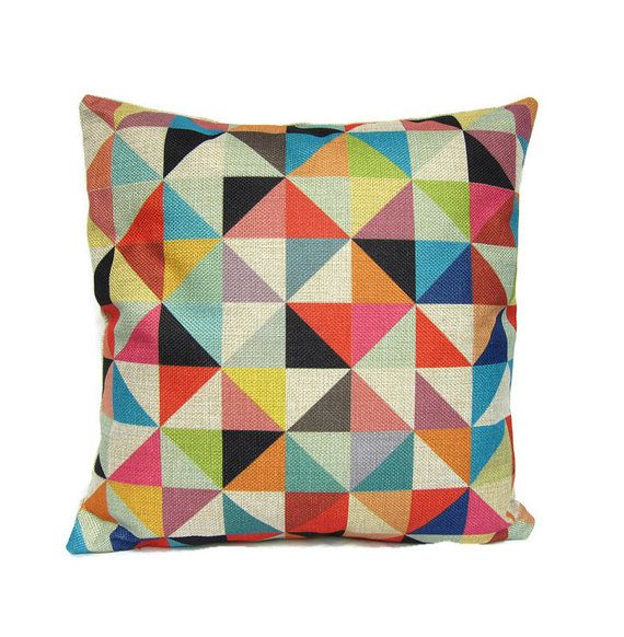 colorful pillow cover geometric