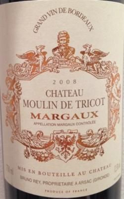Chateau Moulin de Tricot, Bordeaux [Red Blend] (2008)  This ruby red wine has spicy aromas of cinnamon, licorice, and clove. On the palate, ripe, black fruit flavors of plum, black cherry, and blackberry linger through the finish.  See more at: http://app.winepoynt.com/wine/c6vi6lBr/2008-chateau-moulin-de-tricot-bordeaux-red-blend-margaux-aoc#sthash.QtV9Vfzw.dpuf