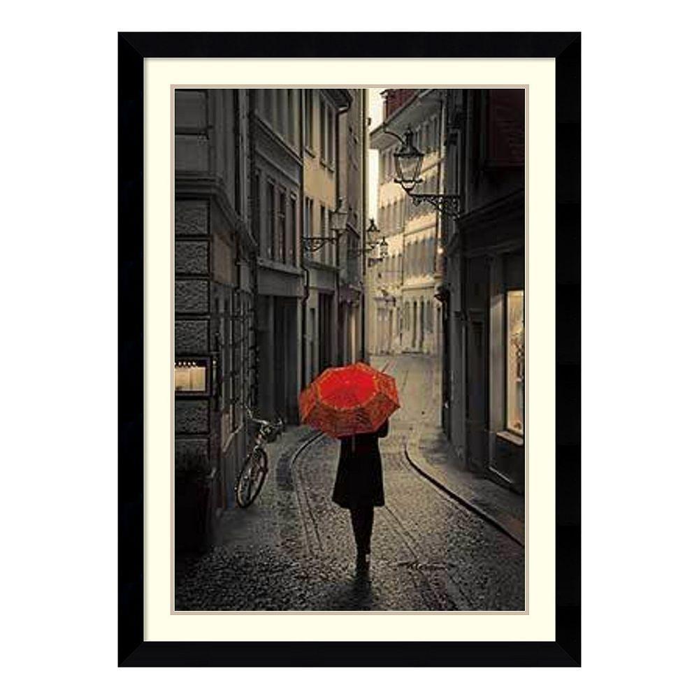 Amanti art red rain framed wall art black framed wall art and