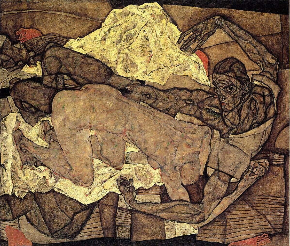Egon Schiele, Lovers: Man and Woman I, 1914, Oil on canvas, 119 x 139 cm…