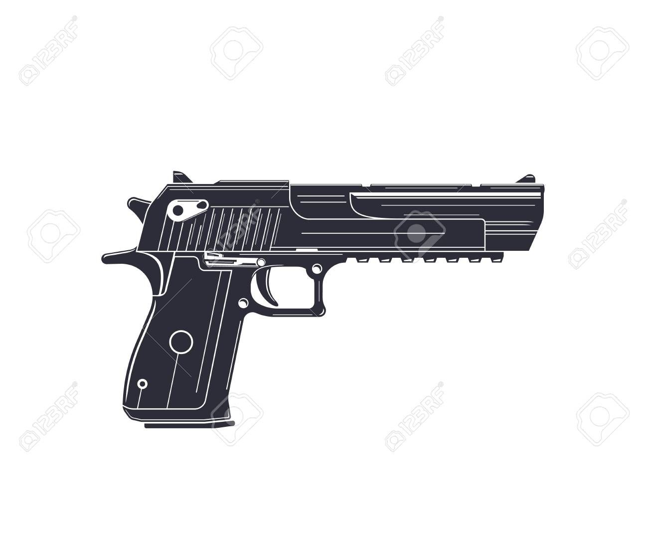 powerful pistol handgun on white Illustration