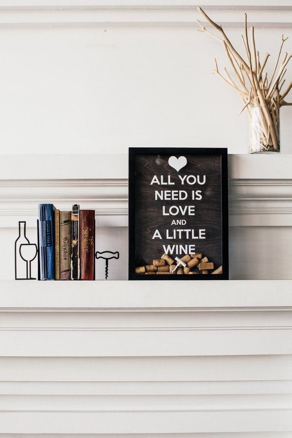 All You Need Is Love Wine Cork Decor Keeper Shadow Box Couple Or Birthday Gift Wi