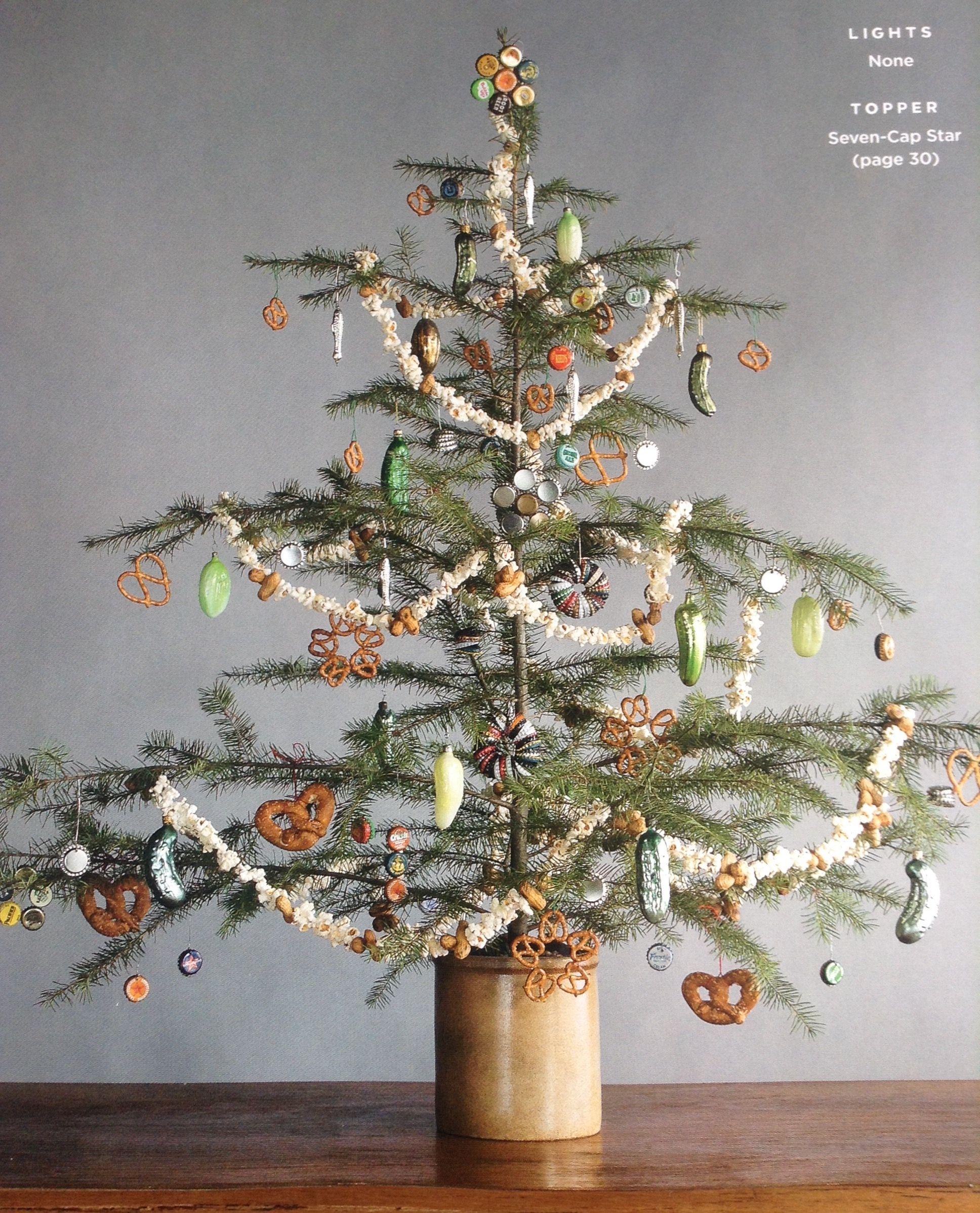 Foraged Tree In Glazed Crock Bottle Cap Ornaments Christmas