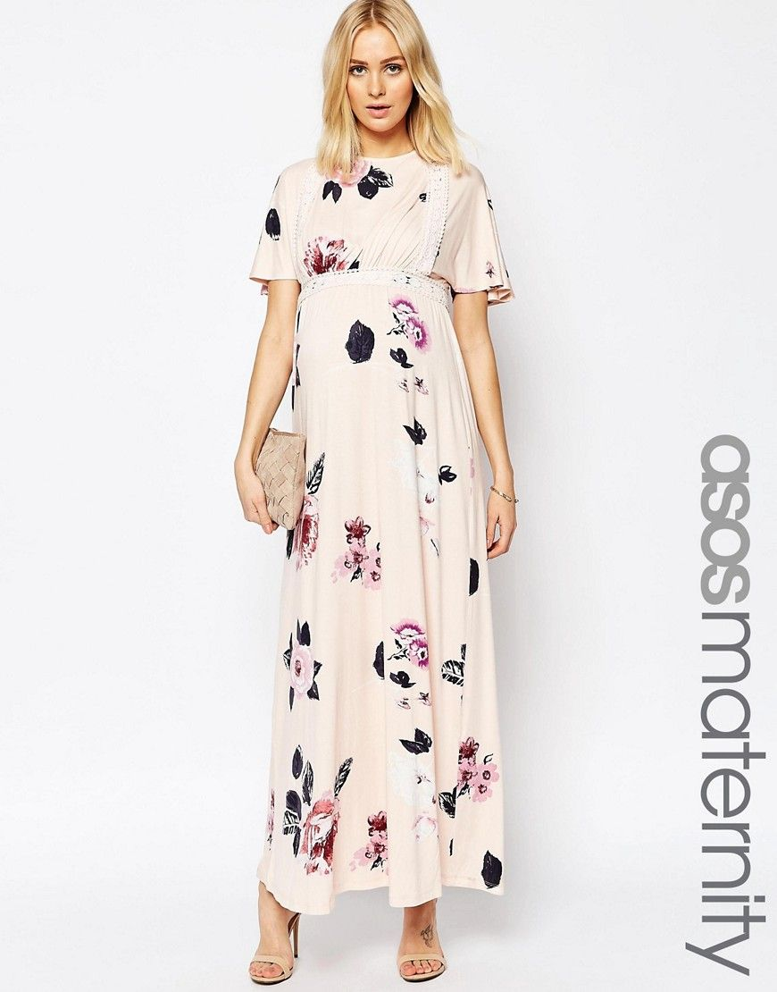 ec1c60bc7790d ASOS+Maternity+Angel+Sleeve+Maxi+With+Lace+Inserts+in+Spaced+Floral+Print