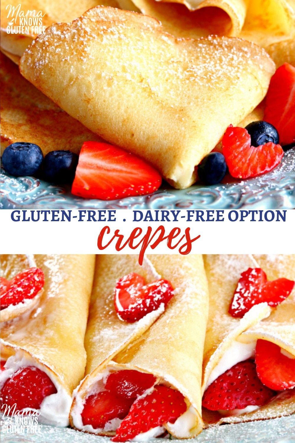 Learn how to make crepes at home with this easy gluten-free crepe recipe! Crepes can be sweet or savory. Perfect for a special breakfast or dessert. #crepes #glutenfreerecipes #glutenfreebreakfasts