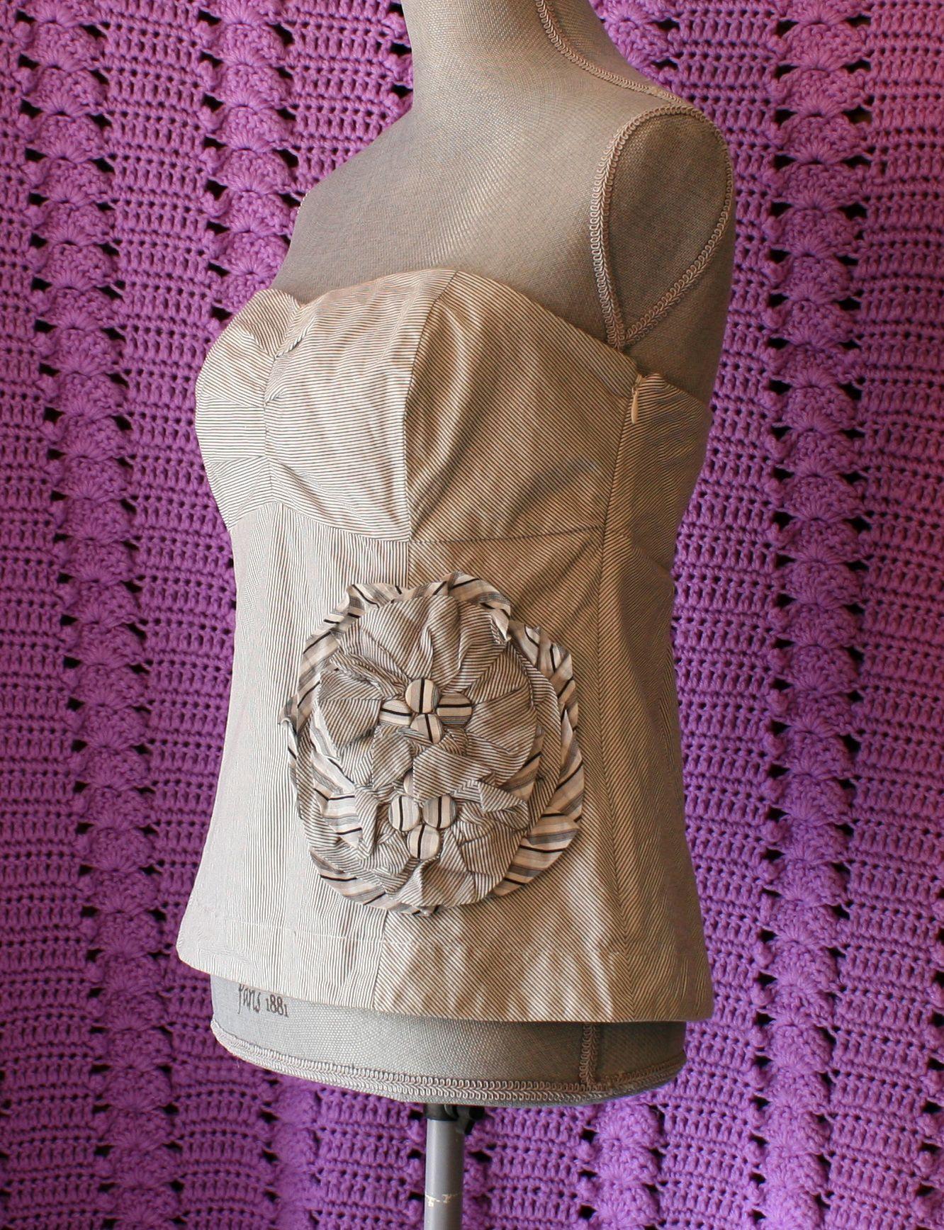 Anthropologie Blouse/Top by Floreat 10 Strapless Cotton Gray Stripes Fabulous!!!