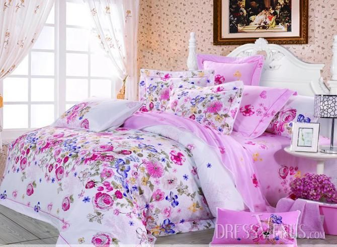 US$121.99 Charming Colorful Floral Print 4 Piece Comforter Sets with Cotton. #Sets #Floral #Piece #Comforter