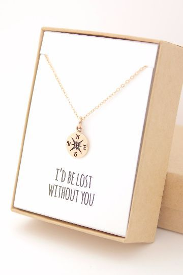 """The perfect gift for that special friend or relative who is always there for you! A cute little compass necklace gift wrapped with an """"I'd be lost without you"""" note. Made from a natural bronze compass pendant (10mm) on a 14K gold-filled necklace chain and findings. The gold-filled necklace chain is perfect for sensitive skin and 18 inches in length!"""