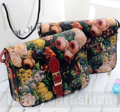 Oil-painting Style Women Leather cross body  Shoulder