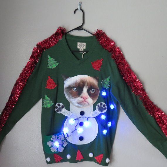 Weird Cat Tacky Ugly Christmas Sweater Lights Up Size Medium Ships