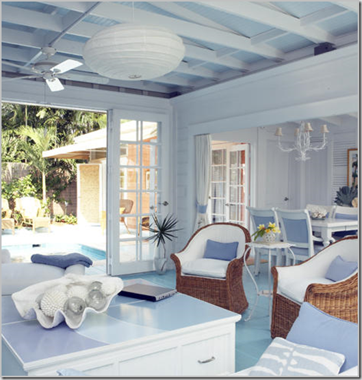 Blue Seaside Decorating Small Apartment Living Room