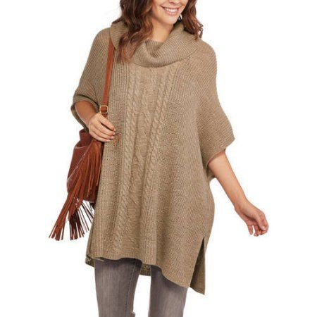 Faded Glory Women's Cowl Neck Poncho Sweater, Size: L-XL, Beige ...