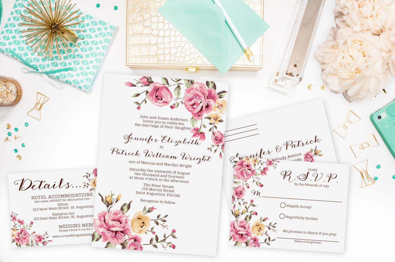 Wedding Invitation set, Rose invitations, Deposit for Prints, Floral ...