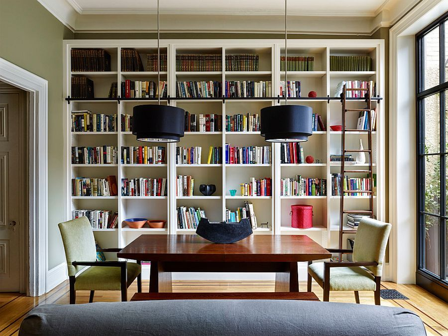 Ladder Bookshelves And Bold Pendants For The Modern Library Design Rasmussen Su