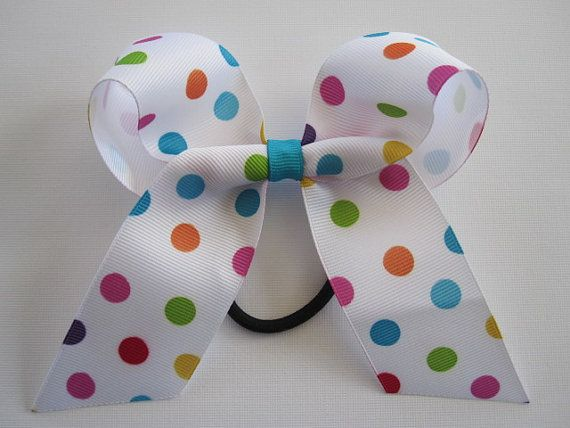 Polka Dot Cheer Bow Pink Blue Purple Green by MadiLeighBowtique, $4.00