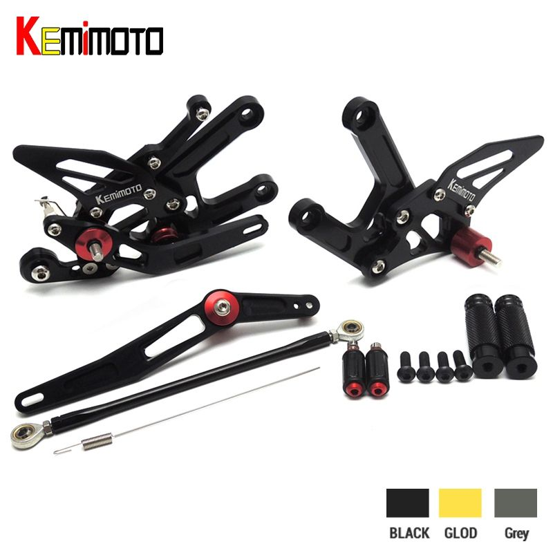 KEMiMOTO For Yamaha R6 CNC Adjustable Rearset Footrests Pegs