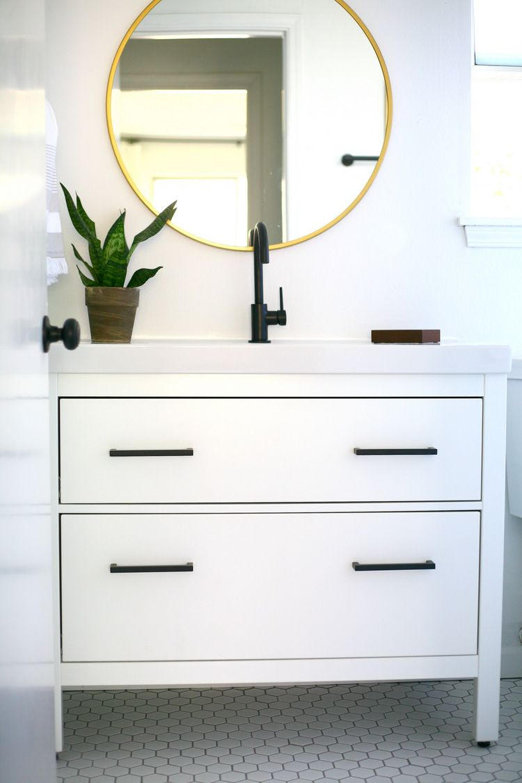 My proudest IKEA hack! Classy modern vanity from an IKEA favorite