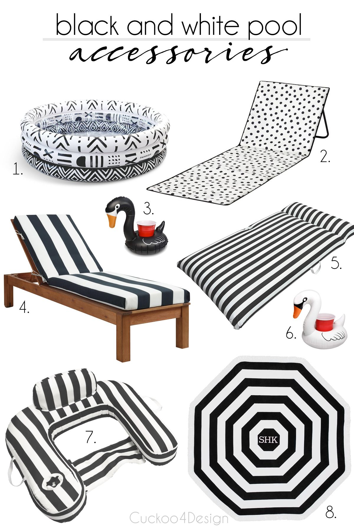 Surprising Friday Favorites Black And White Swimming Pool Accessories Interior Design Ideas Inesswwsoteloinfo