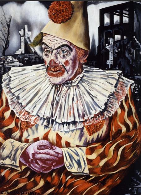 Painting by Charley Toorop, Clown voor ruïnes van Rotterdam (Clown for ruins of Rotterdam), 1940-41, oil on canvas.